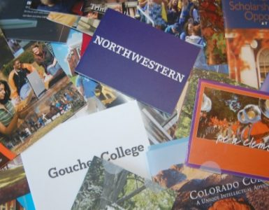stack of mail from colleges