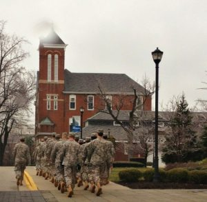 ROTC troops marching